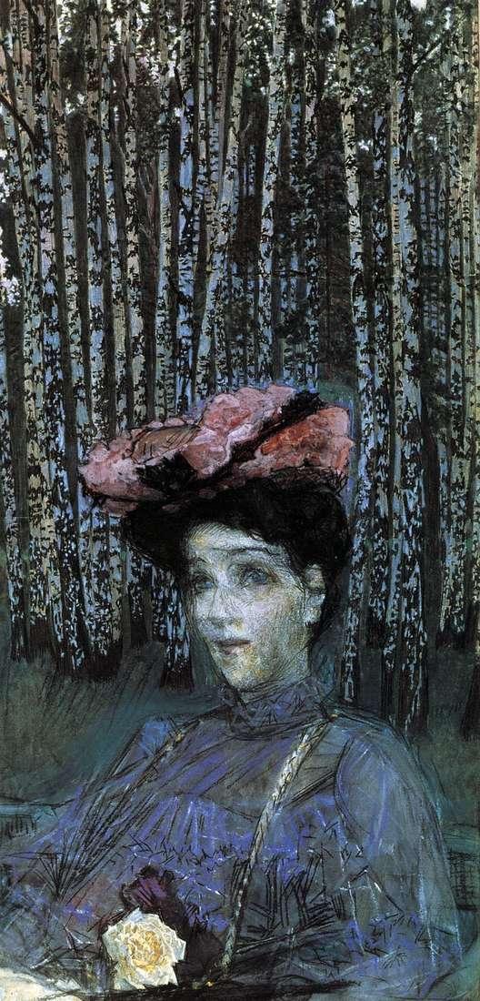 Portrait of NI Zabela Vrubel against the background of birches by Mikhail Vrubel