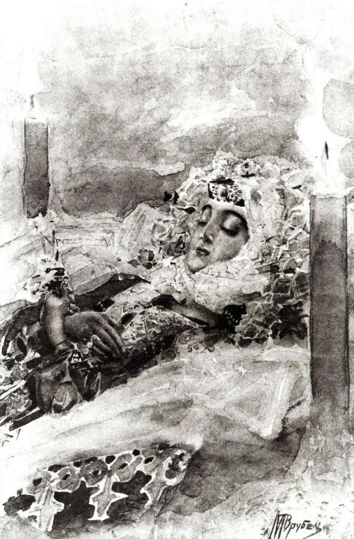 Tamara in the coffin by Mikhail Vrubel
