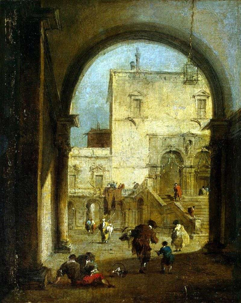 View of the square with the palace by Francesco Guardi