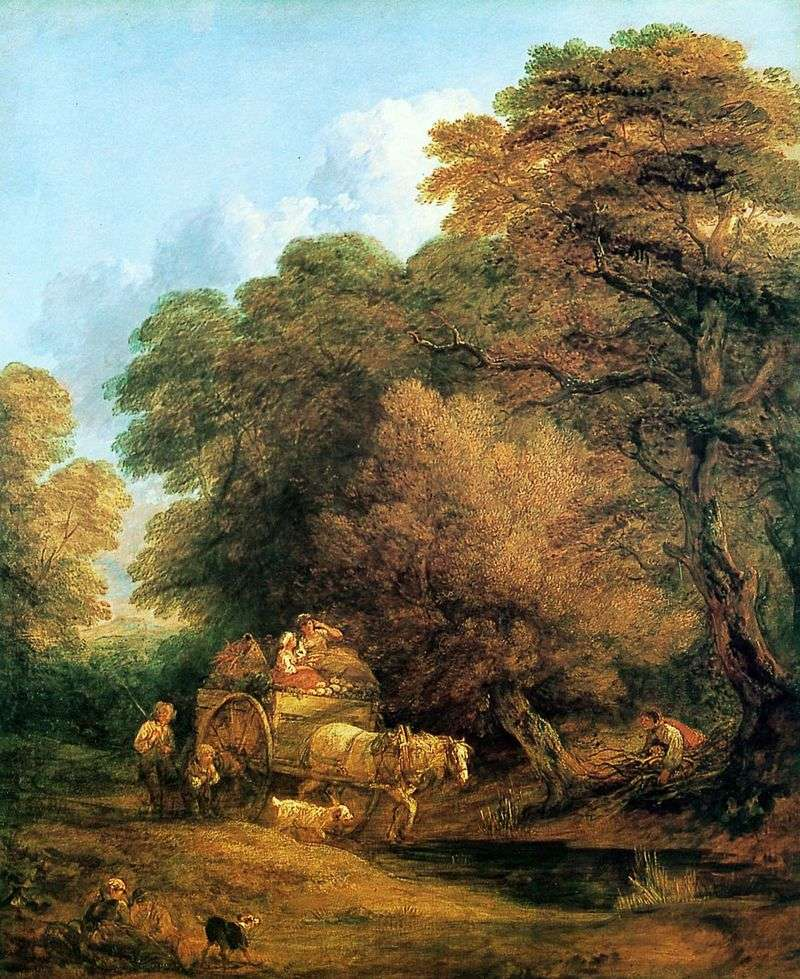 A carriage driving to the fair by Thomas Gainsborough