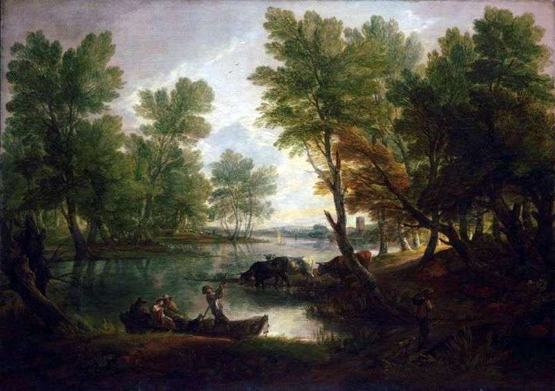River landscape with figures in a boat by Thomas Gainsborough