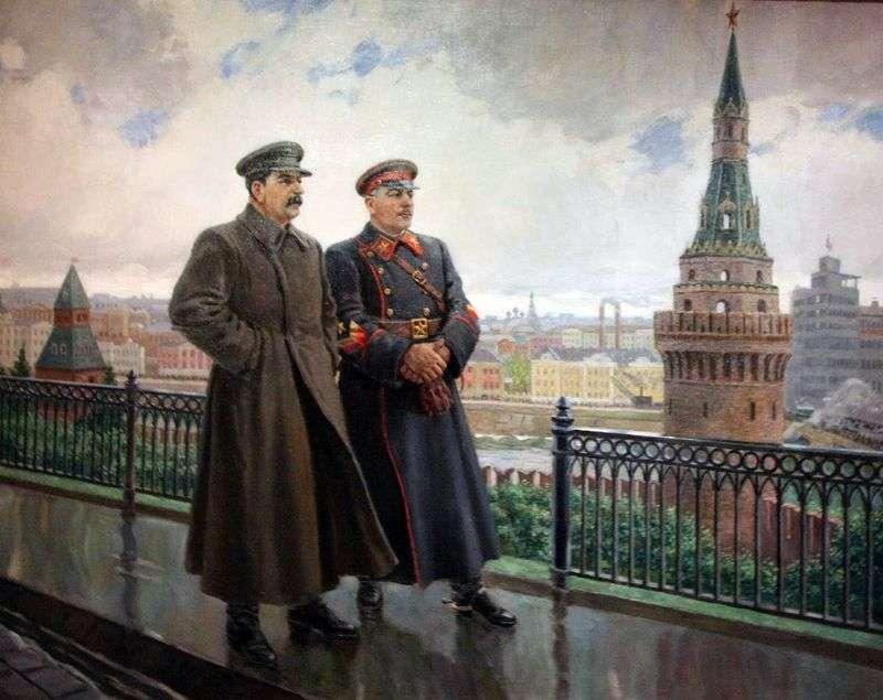 IV Stalin and Voroshilov in the Kremlin by Alexander Gerasimov
