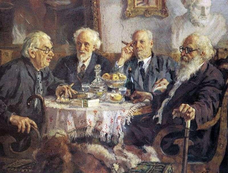 Portrait of the oldest Soviet artists I. Pavlov, V. Baksheev, V. Byalynitsky Biruli and V. Meshkov by Alexander Gerasimov