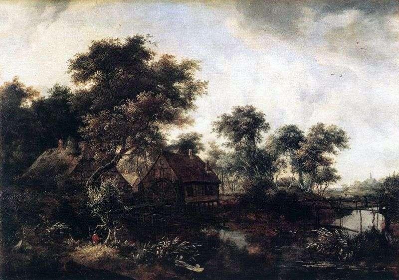 Watermill by Meindert Hobbema
