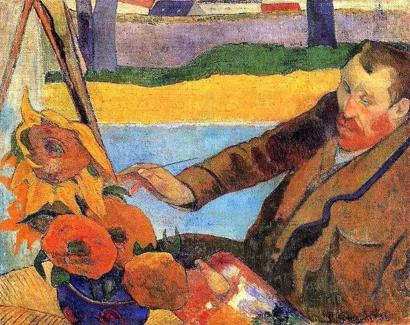 Van Gogh paints sunflowers (Portrait of Vincent Van Gogh) by Paul Gauguin