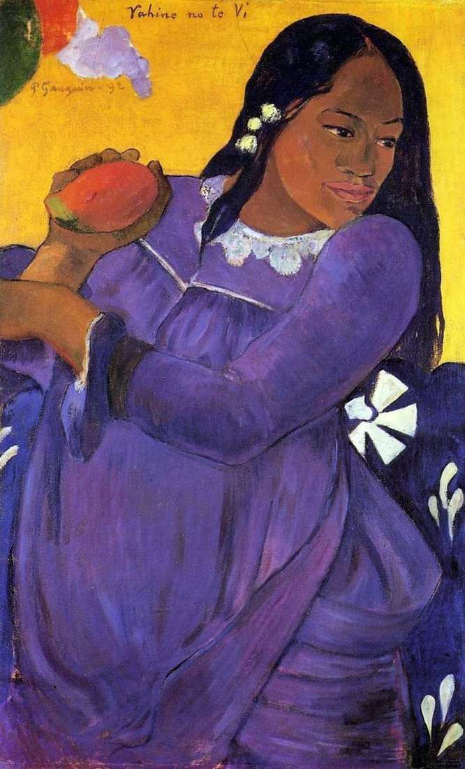 Woman with a mango (Girl with a mango fruit) by Paul Gauguin