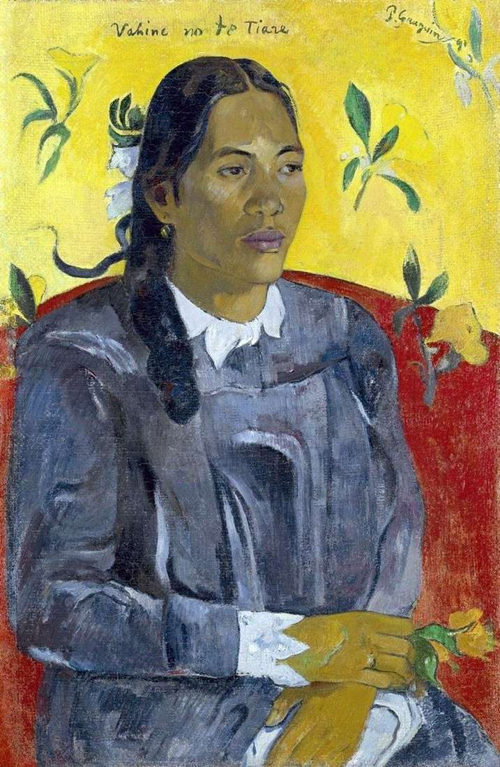Woman with flower by Paul Gauguin