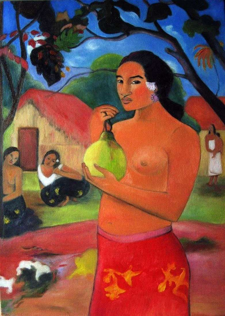 Woman holding the fruit by Paul Gauguin