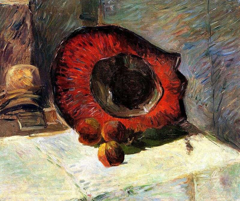 Red hat and fruit by Paul Gauguin