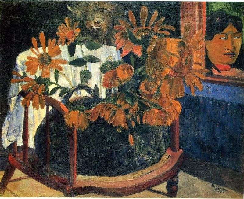 Still Life with Sunflowers on the Chair by Paul Gauguin