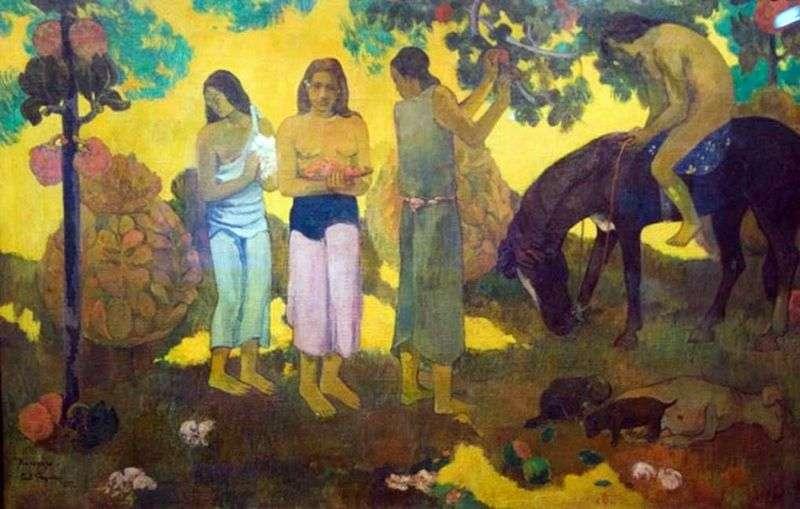 Harvesting fruits by Paul Gauguin