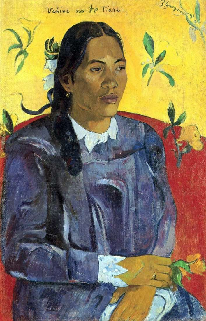 Tahitian woman with a flower by Paul Gauguin