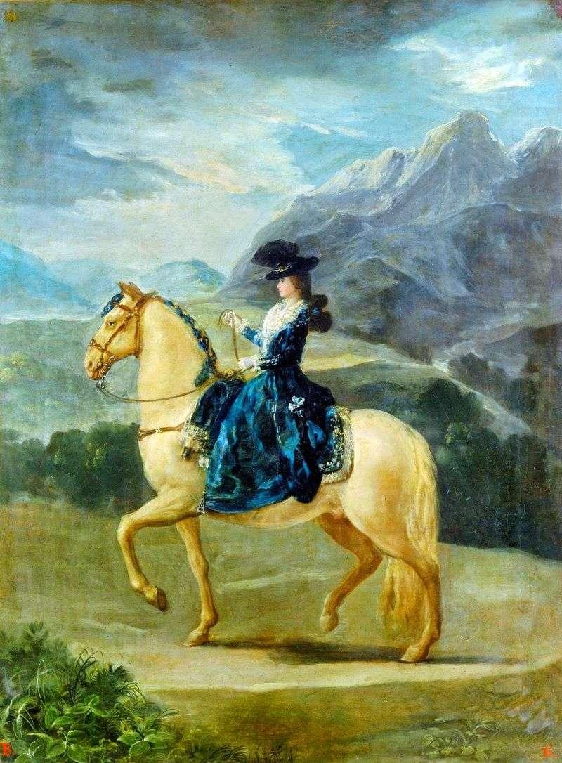 Portrait of Maria Teresa de Bourbon i Vallabriga on horseback by Francisco de Goya