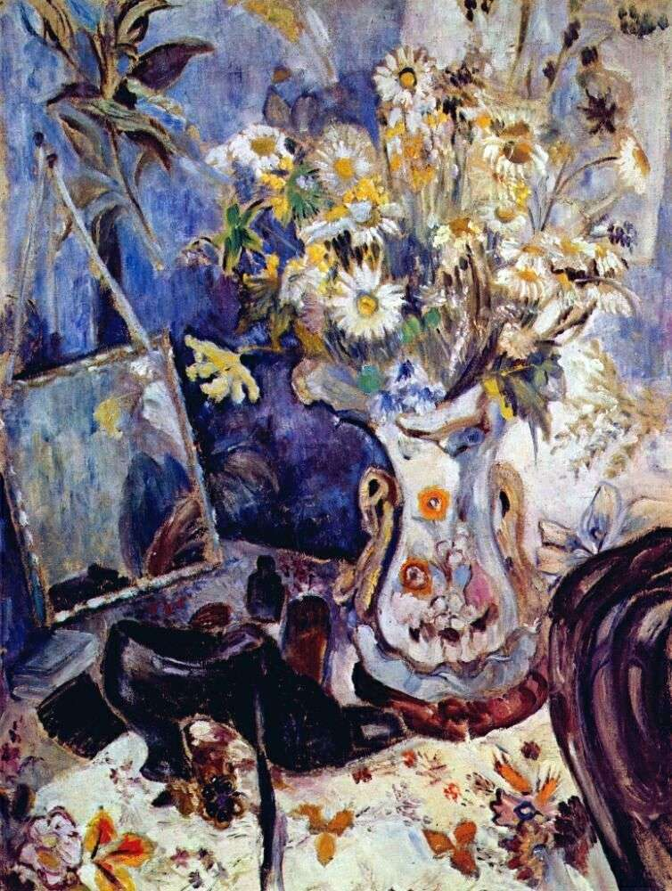 Still life with a shoe and a mirror by Natalia Goncharova