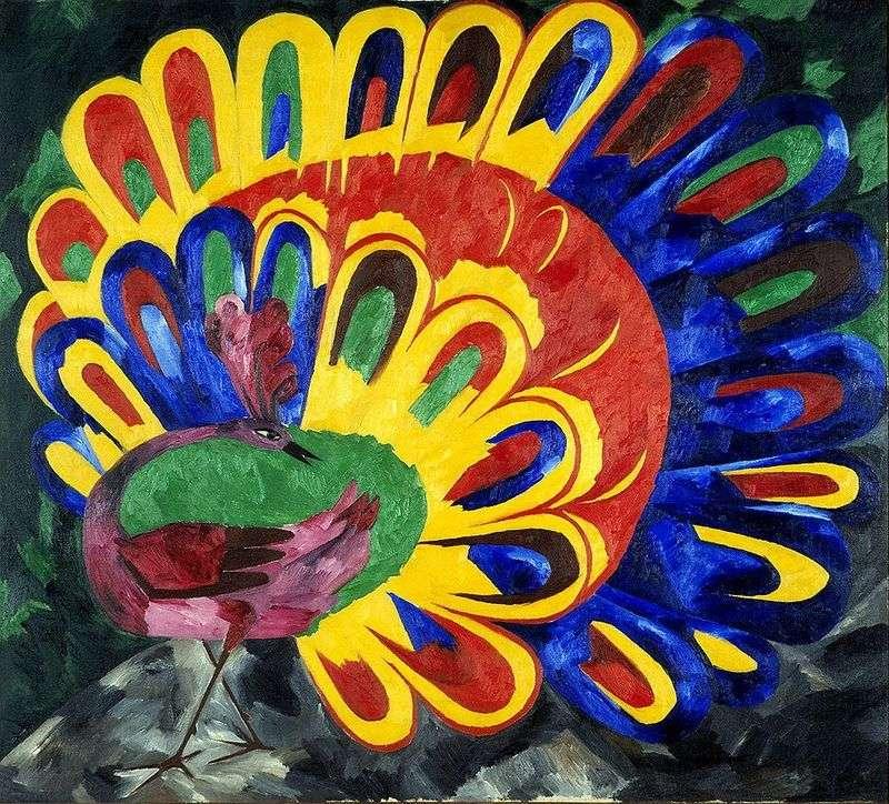 Peacock under the bright sun by Natalia Goncharova
