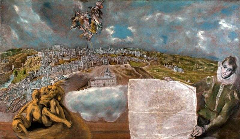 View and plan of Toledo by El Greco
