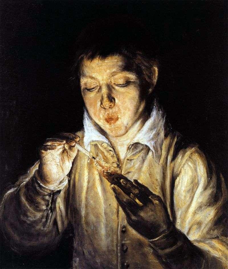 Boy blowing the beam by El Greco
