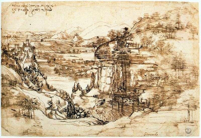 Landscape Arno by Leonardo da Vinci