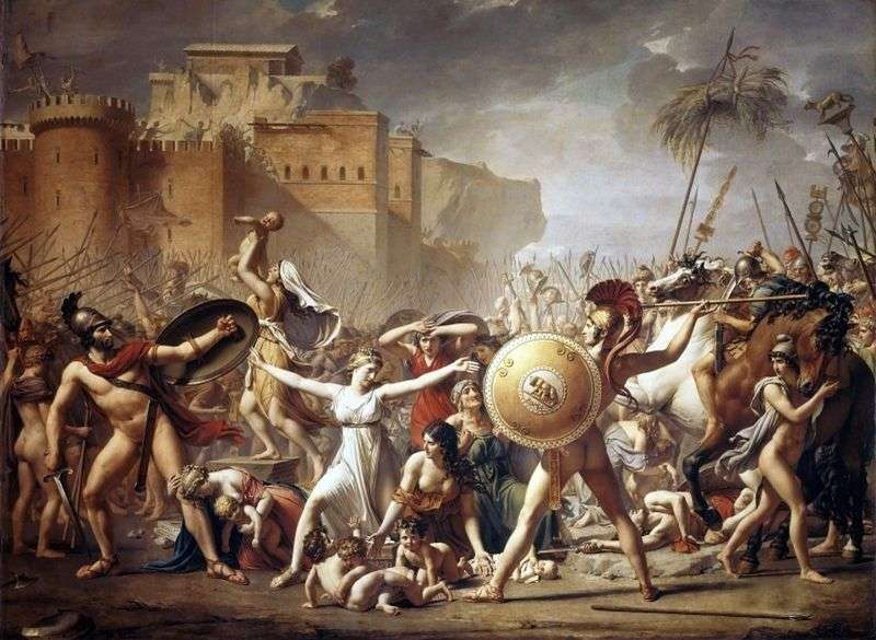 Sabine women who stop the battle by Jacques Louis David