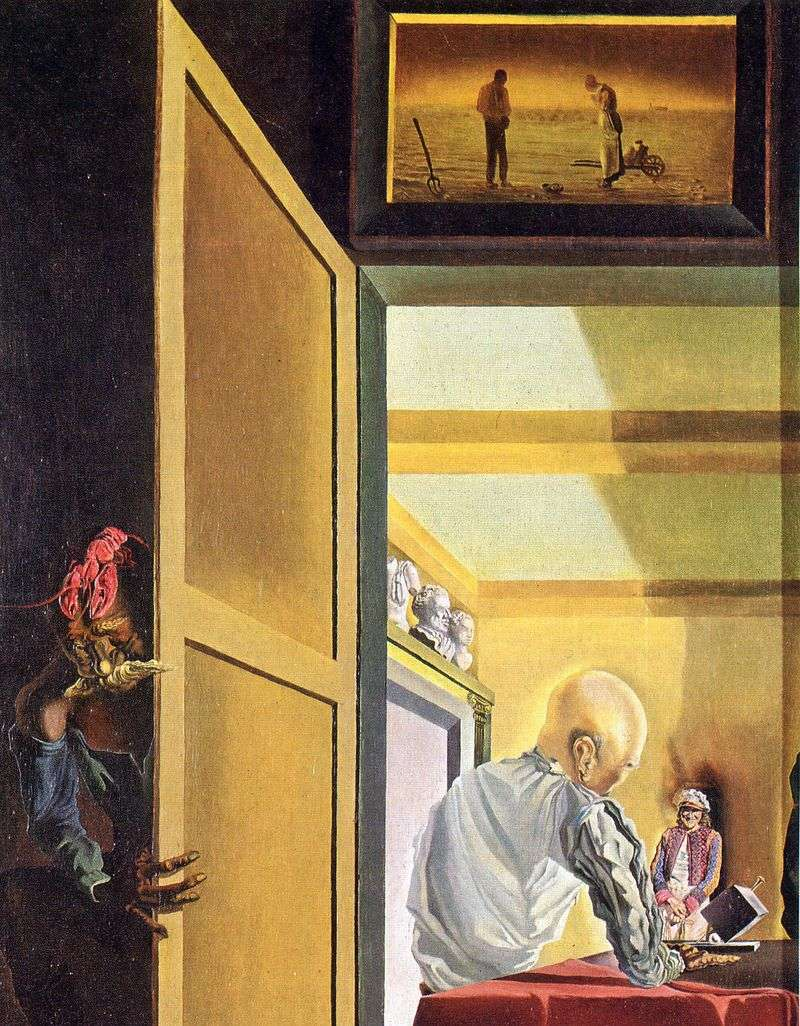 Gala and Angelis Millet just before the onset of conical anamorphosis by Salvador Dali