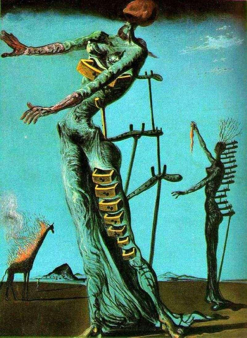 Giraffe in the fire by Salvador Dali