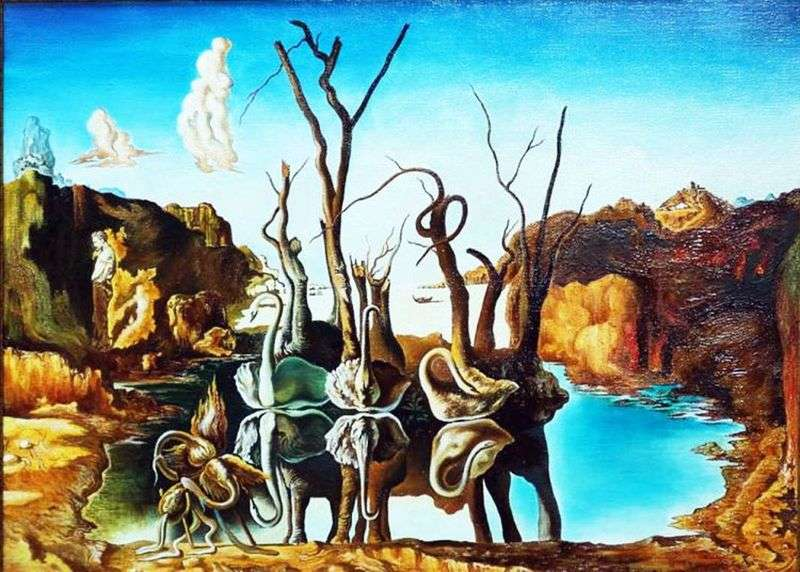 Swans reflected in elephants by Salvador Dali