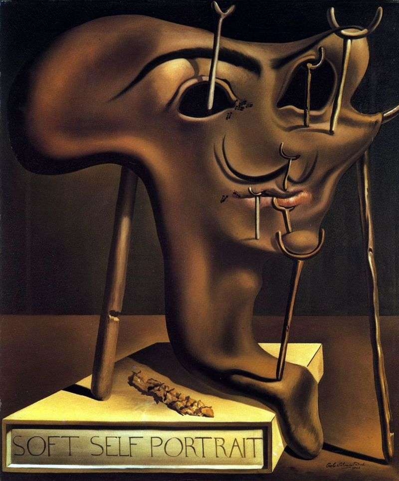 Soft self portrait with fried bacon by Salvador Dali