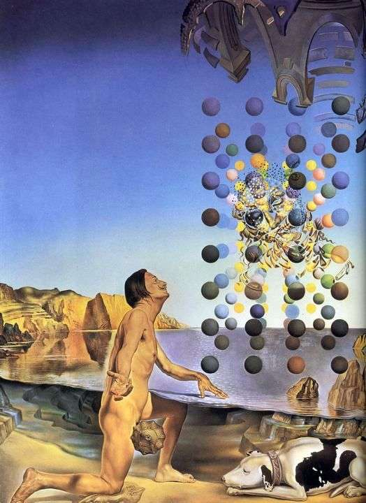 Naked Dali in front of five regular bodies by Salvador Dali