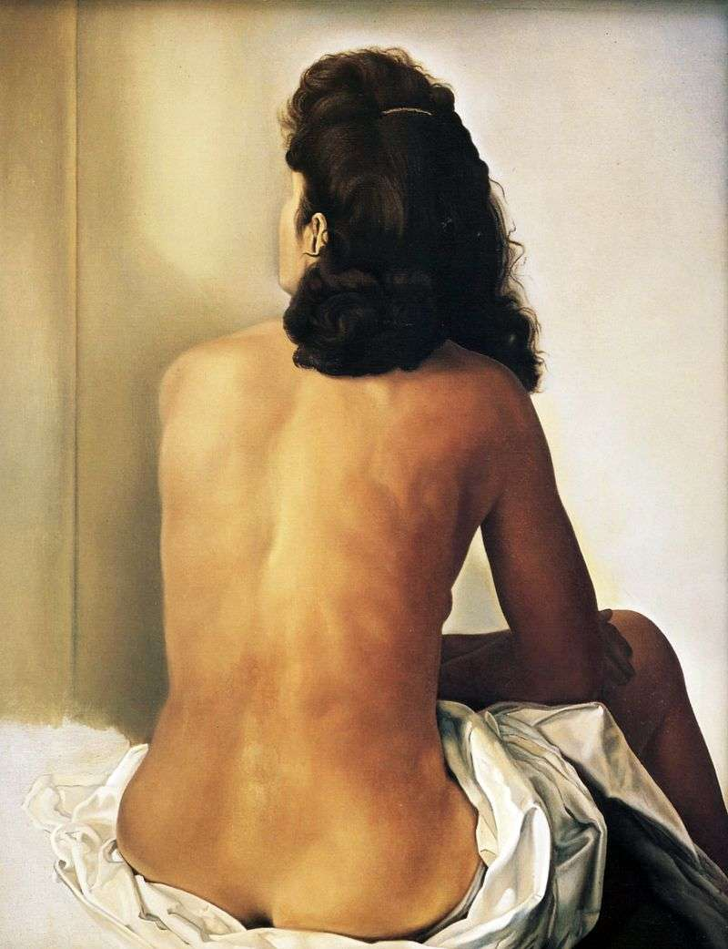 Nude Gala sitting with her back by Salvador Dali