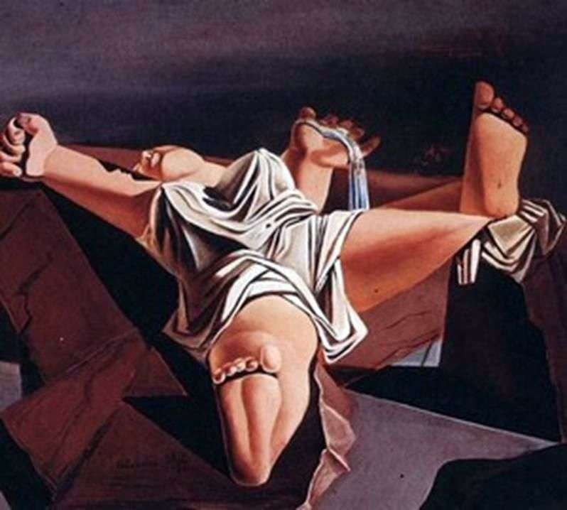 Flesh on the rocks by Salvador Dali