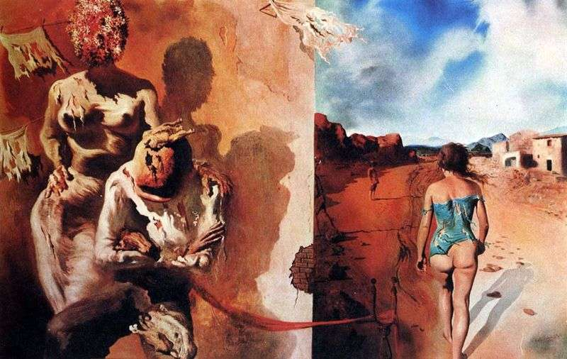 Sleep laying a hand on the male back by Salvador Dali