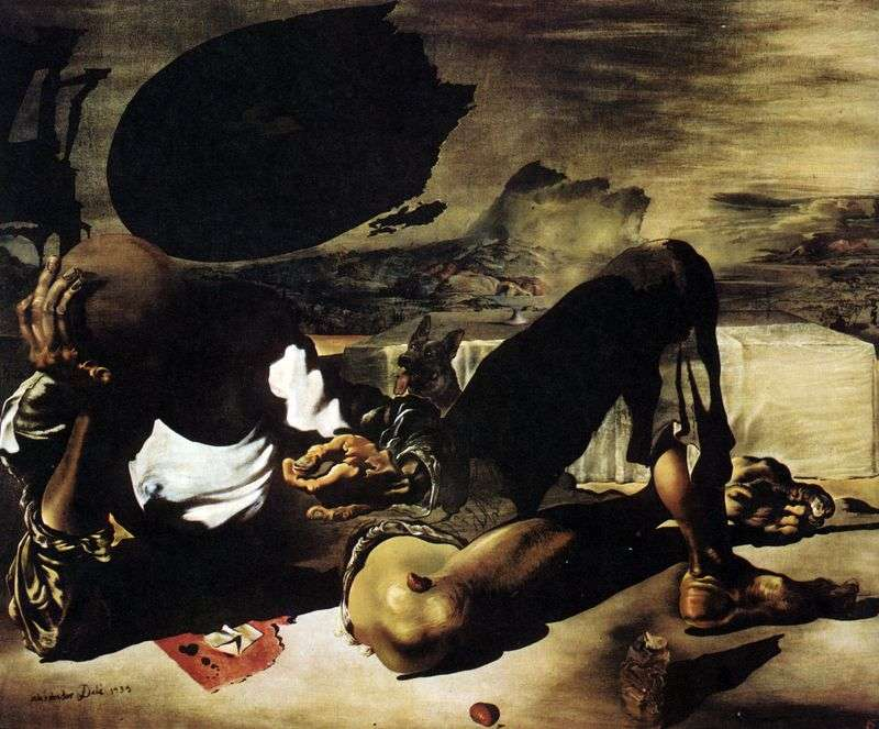 A philosopher illuminated by the moon and a defective sun by Salvador Dali