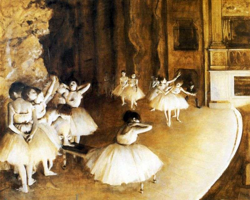 Rehearsal of the ballet on stage by Edgar Degas