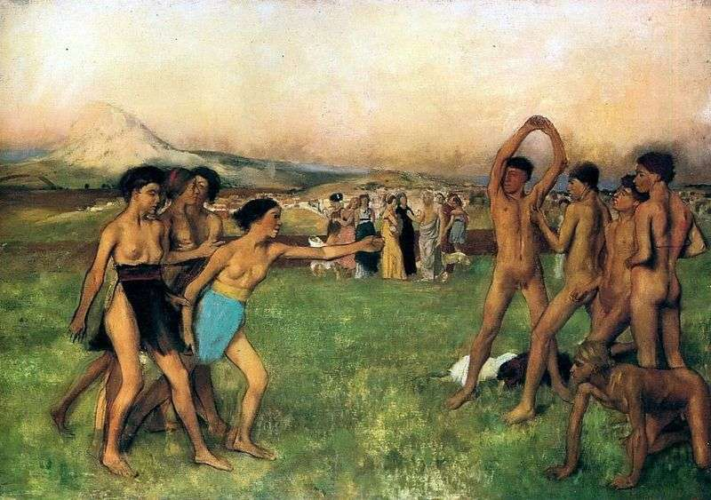 Spartan girls call young men to compete by Edgar Degas