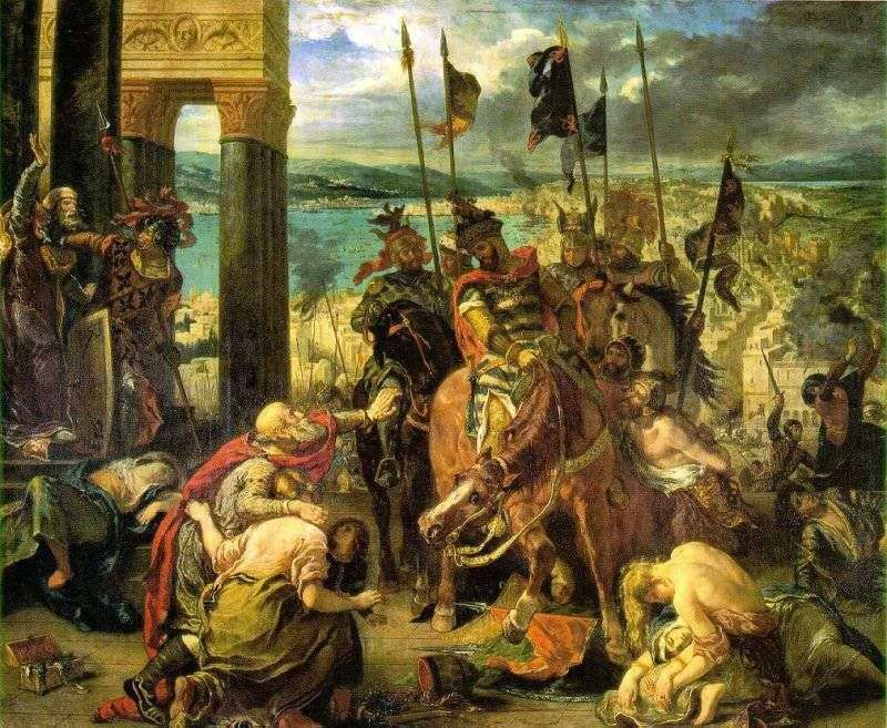 The capture of Constantinople by the Crusaders by Eugene Delacroix
