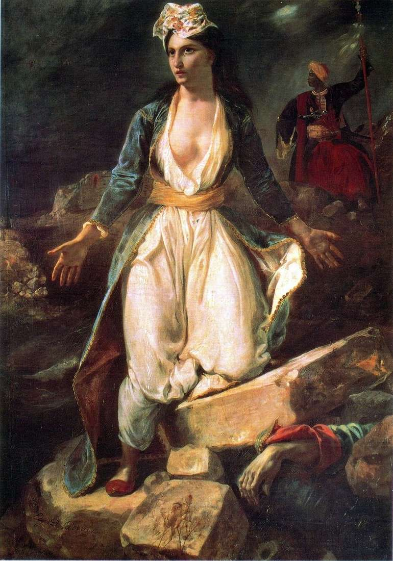 Greece on the ruins of Missolunga by Eugene Delacroix