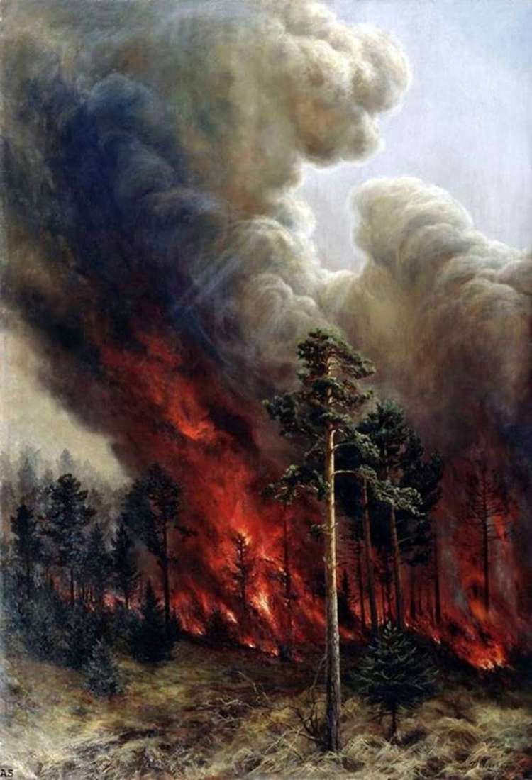 Forest fire by Alexey Denisov Ural