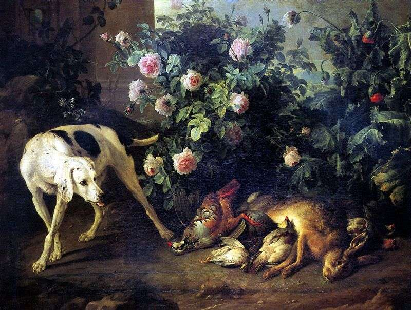 Still life with a dog and a bait game near a rose bush by Francois Deport