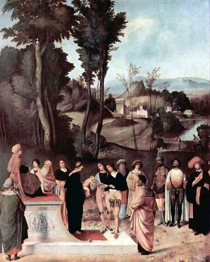 The Test of Moses by Fire by Giorgione