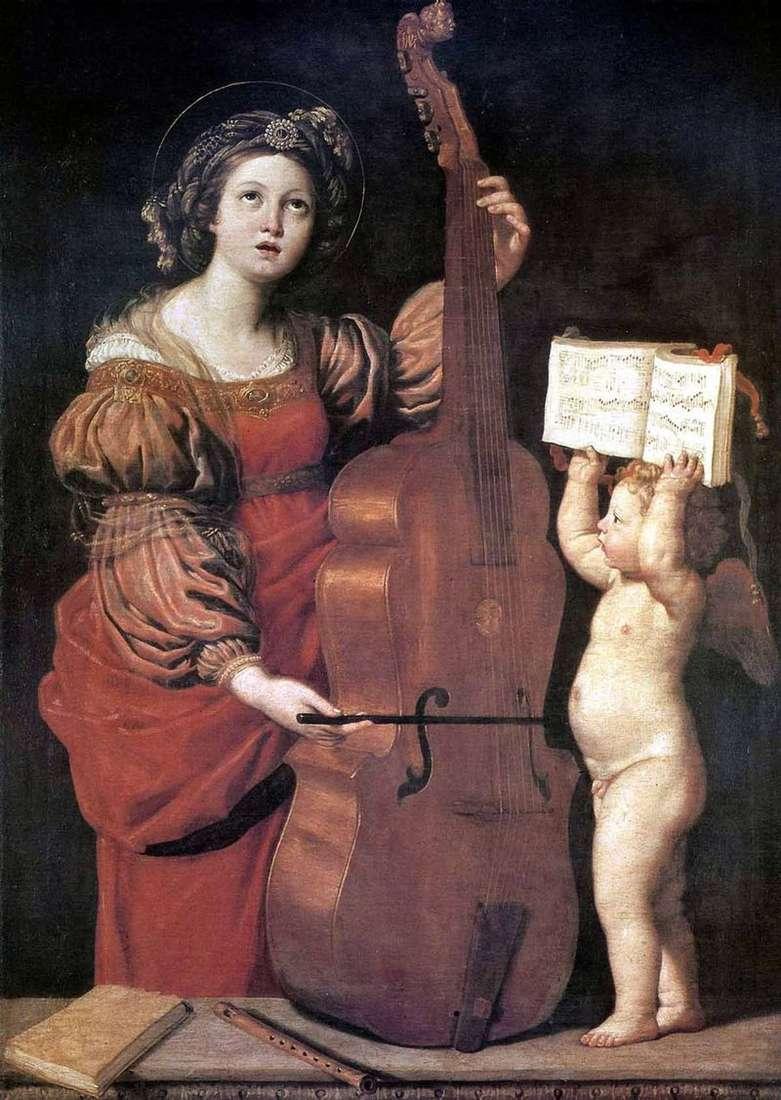 Playing St. Cecilia with the Angel by Domenichino Zampieri
