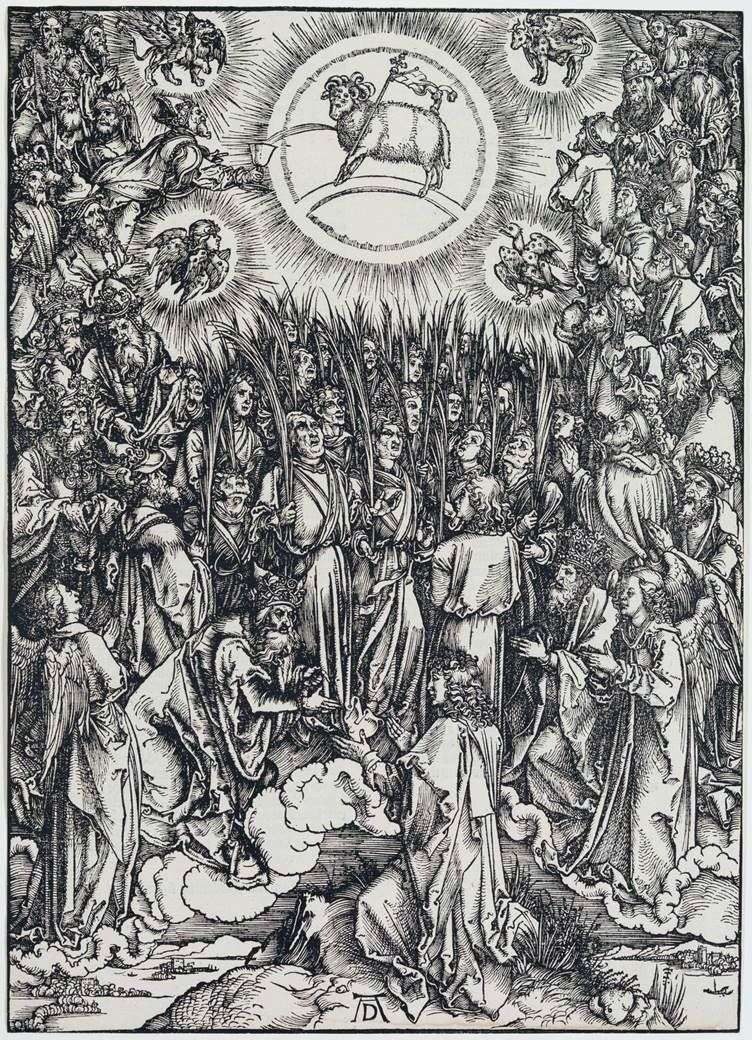 The Lamb of God and the hymn to the Elect. Engraving by Albrecht Durer