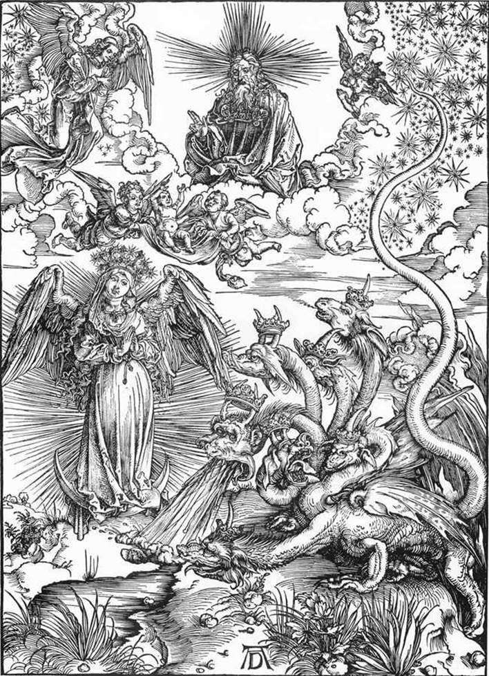 Woman Sun and the seven headed Dragon by Albrecht Durer