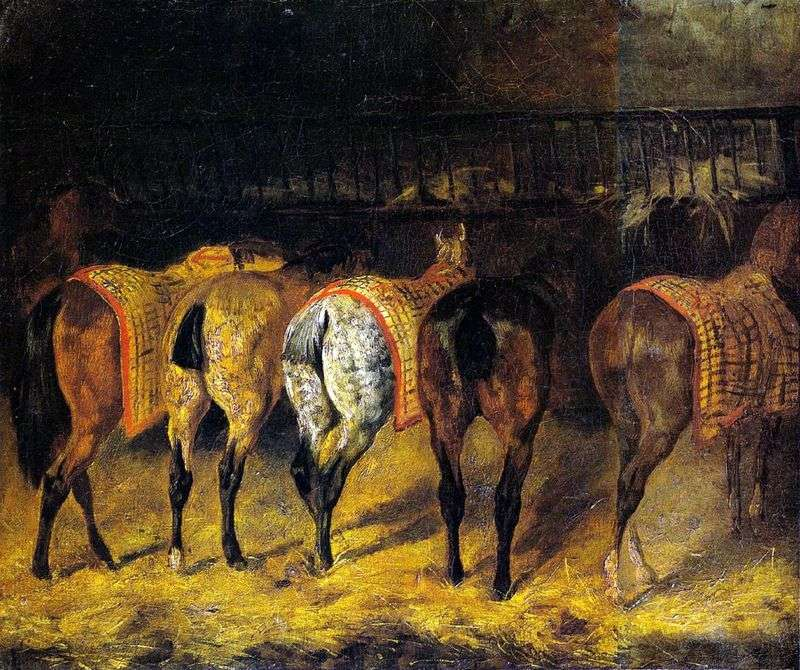 Five horses, rotated by groats, in the stables by Theodore Gericault