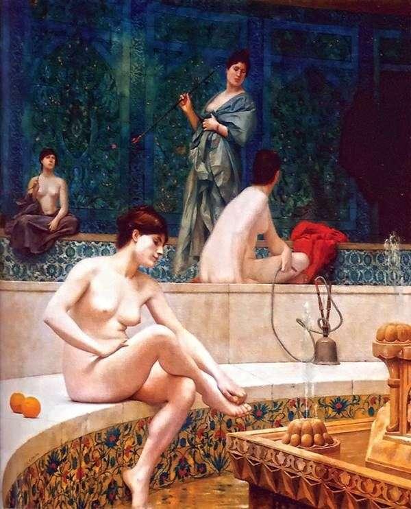 Turkish bath in the harem by Jean Leon Jerome