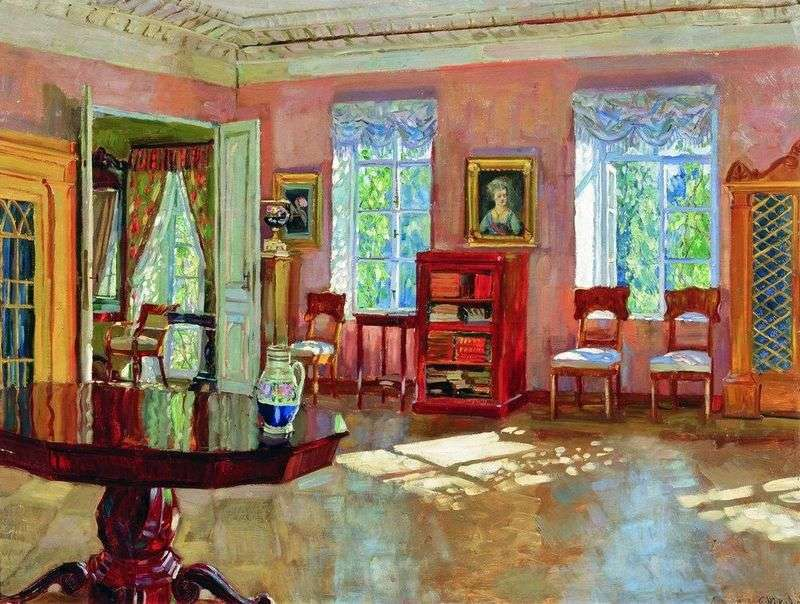 The interior of the library of the landlords house by Stanislav Zhukovsky