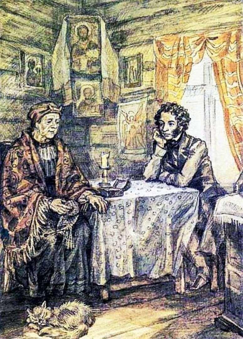 Pushkin and Arina Rodionovna by Yuri Ivanov