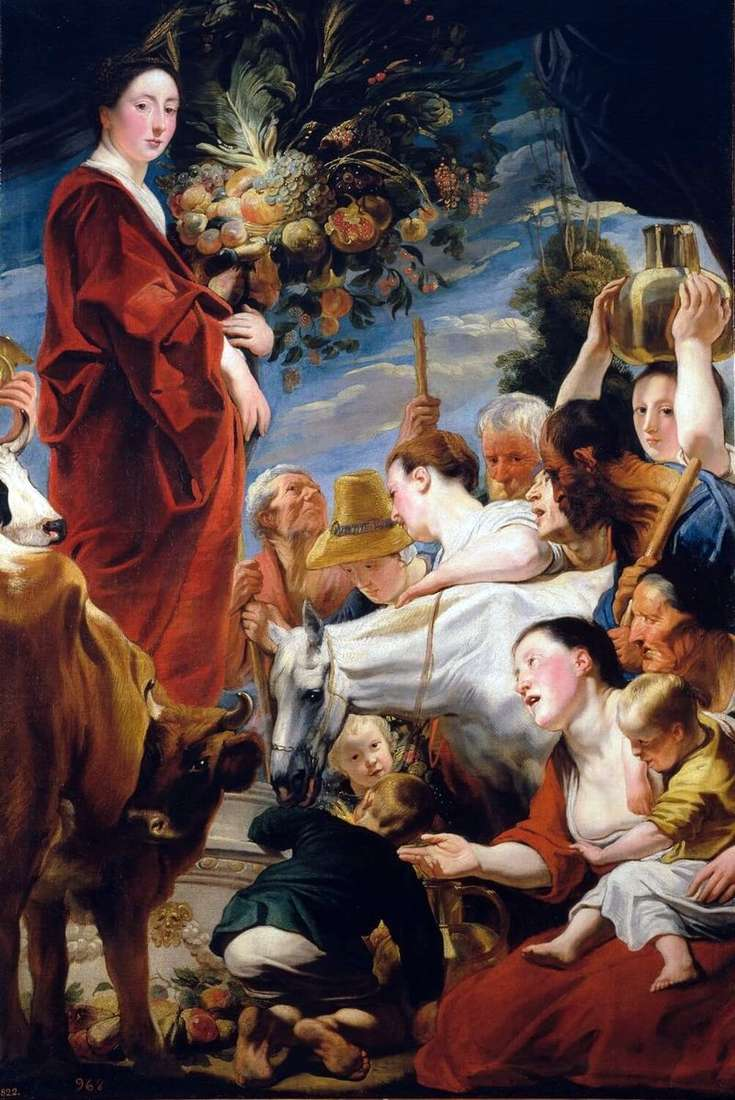 The offering to Ceres, the goddess of the harvest by Jacob Jordaens