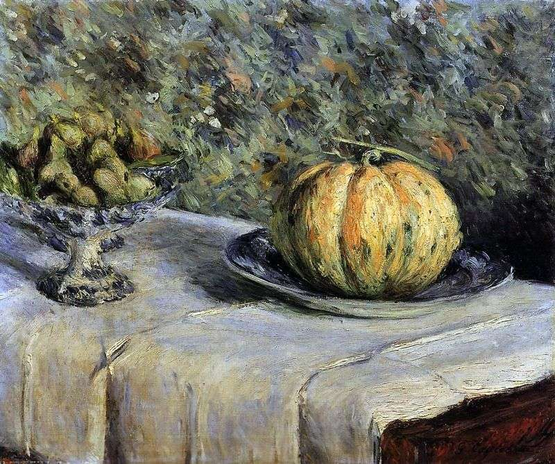 Melon and vase with dates by Gustave Caillebotte