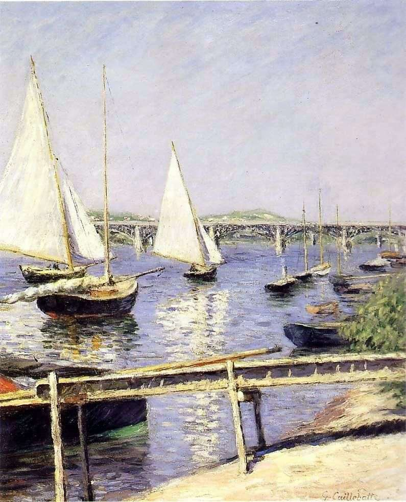 Sailboats in Argenteuil by Gustave Caillebotte