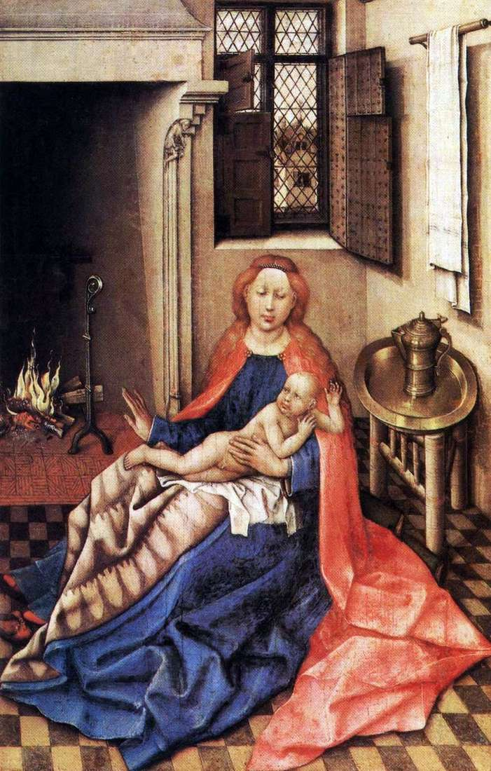 Madonna and Child by the Fireplace by Robert Kampen